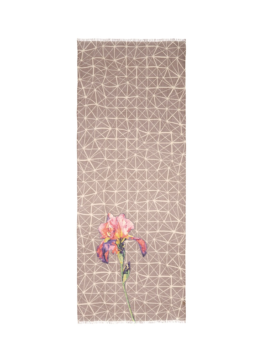 Floral geometric print cashmere-silk scarf by PASHMA