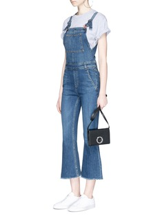 rag & bone/JEAN Cropped flared denim overalls
