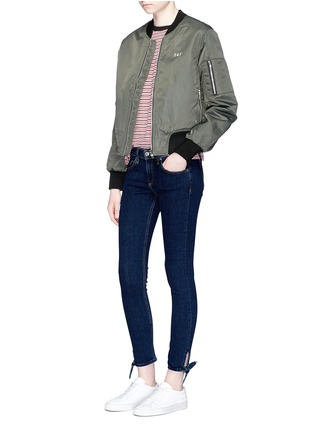 Figure View - Click To Enlarge - rag & bone/JEAN - 'Stevie' tie cuff cropped skinny jeans
