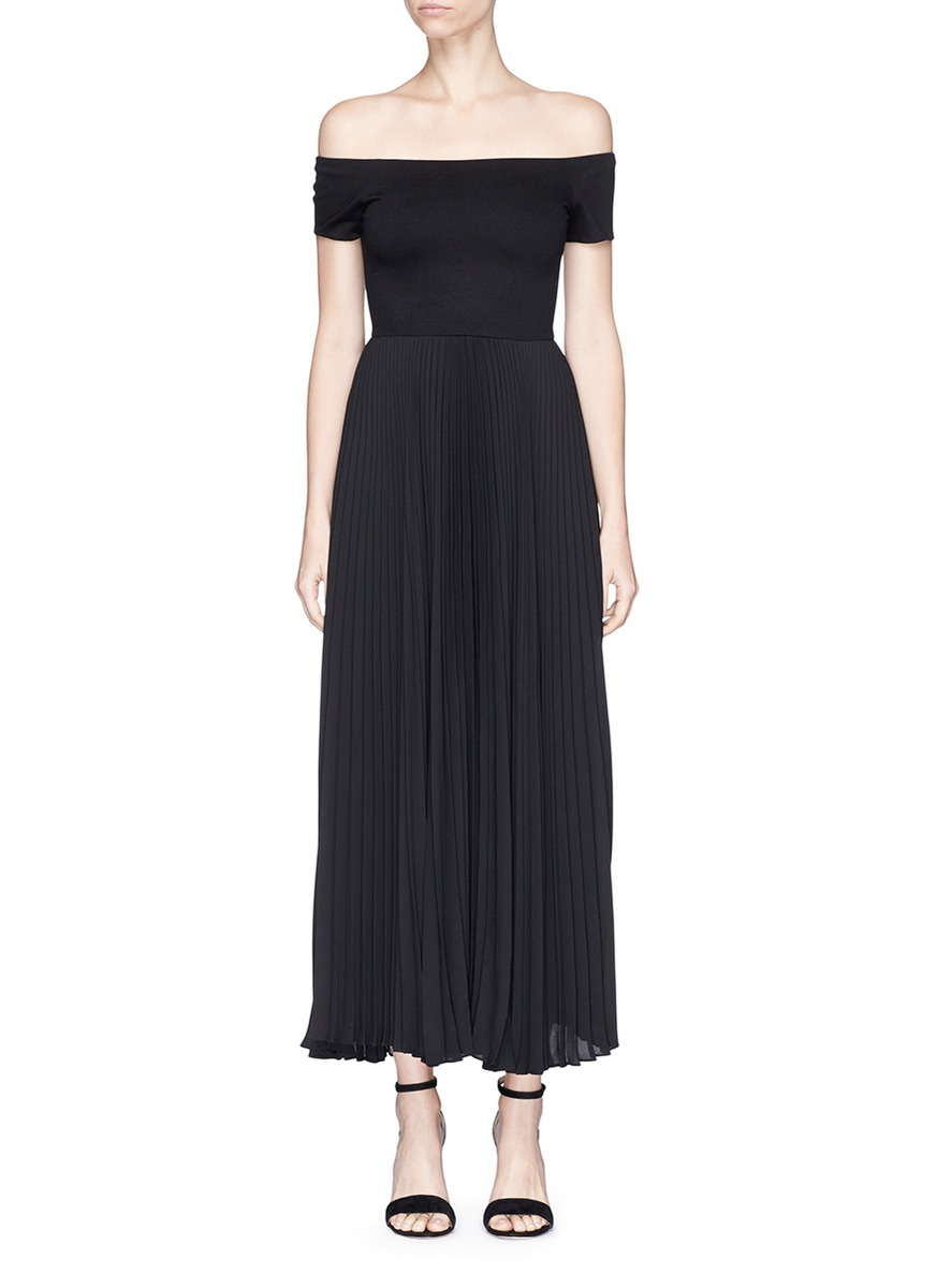 Ilana pleated off-shoulder dress by alice + olivia