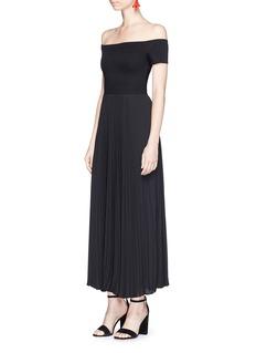 alice + olivia'Ilana' pleated off-shoulder dress
