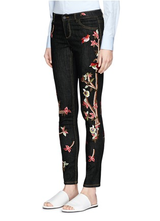 Front View - Click To Enlarge - alice + olivia - 'Jane' bird and floral embroidered skinny jeans