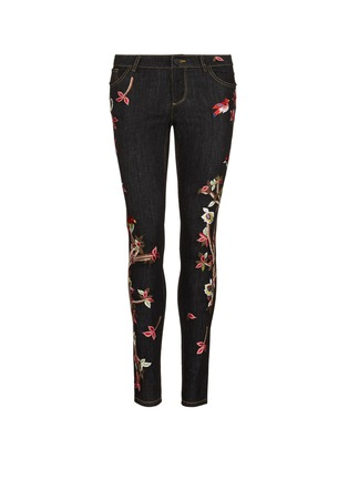Main View - Click To Enlarge - alice + olivia - 'Jane' bird and floral embroidered skinny jeans