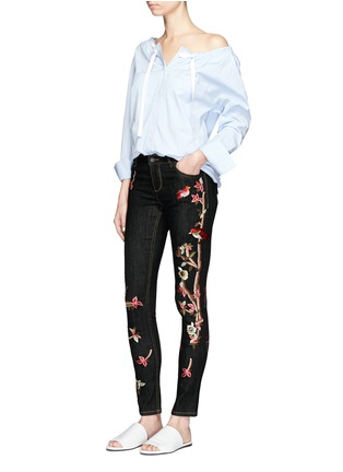 Figure View - Click To Enlarge - alice + olivia - 'Jane' bird and floral embroidered skinny jeans