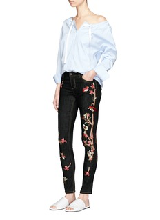 alice + olivia'Jane' bird and floral embroidered skinny jeans