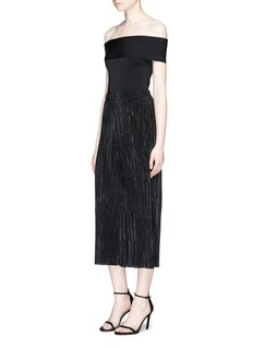 alice + olivia 'Elba' cropped plissé pleated pants