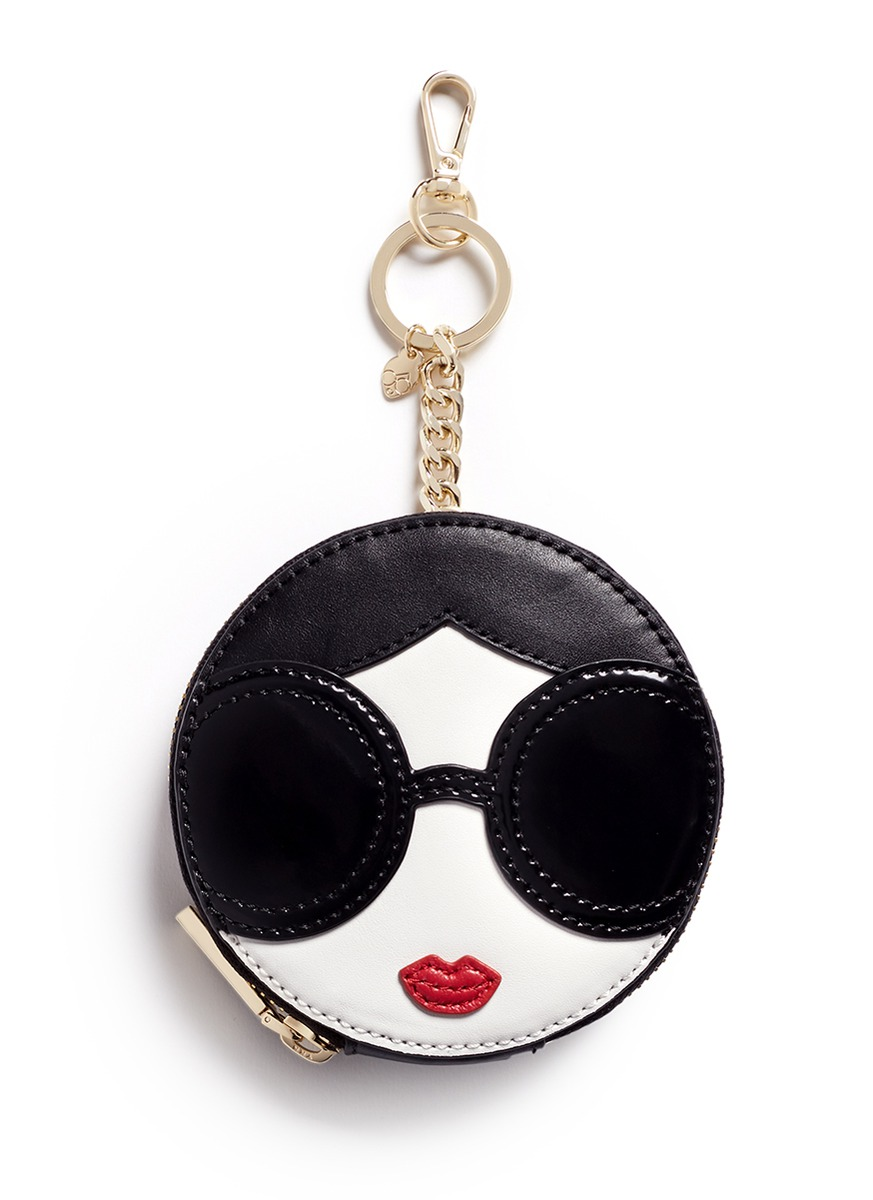 Stace Face circular leather coin pouch keyring by alice + olivia