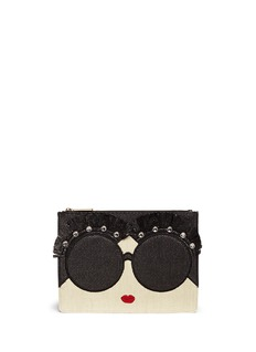 alice + olivia 'Stace Face' embellished straw zip pouch