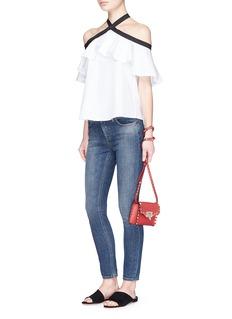 alice + olivia'Alyssa' ruffle off-shoulder halterneck poplin blouse