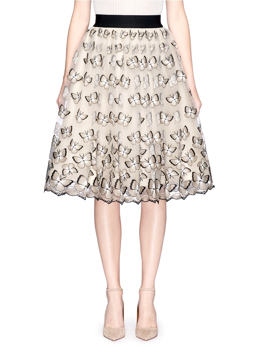 Catrina butterfly embroidered tulle pouf skirt by alice + olivia