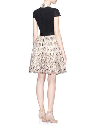 Back View - Click To Enlarge - alice + olivia - 'Dolly' butterfly embroidered colourblock pouf dress