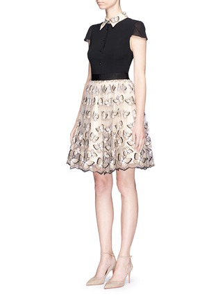 Front View - Click To Enlarge - alice + olivia - 'Dolly' butterfly embroidered colourblock pouf dress