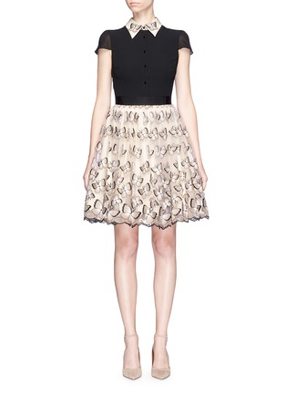 Main View - Click To Enlarge - alice + olivia - 'Dolly' butterfly embroidered colourblock pouf dress