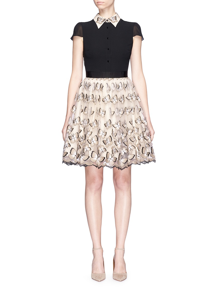 Dolly butterfly embroidered colourblock pouf dress by alice + olivia