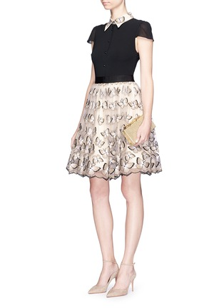 Figure View - Click To Enlarge - alice + olivia - 'Dolly' butterfly embroidered colourblock pouf dress