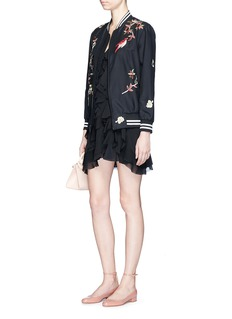 alice + olivia'Lila' floral and bird embroidered satin bomber jacket