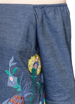 Detail View - Click To Enlarge - alice + olivia - 'Kyra' floral embroidered off-shoulder chambray dress