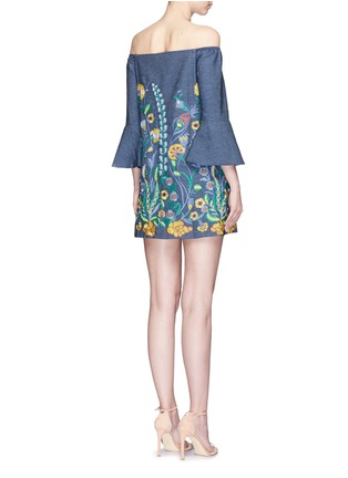 Back View - Click To Enlarge - alice + olivia - 'Kyra' floral embroidered off-shoulder chambray dress