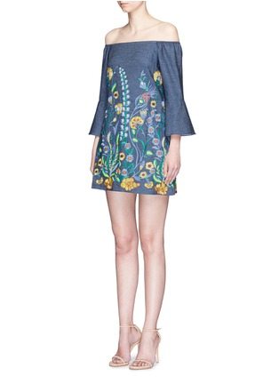 Front View - Click To Enlarge - alice + olivia - 'Kyra' floral embroidered off-shoulder chambray dress