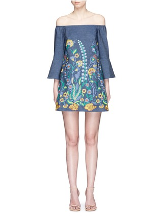 Main View - Click To Enlarge - alice + olivia - 'Kyra' floral embroidered off-shoulder chambray dress