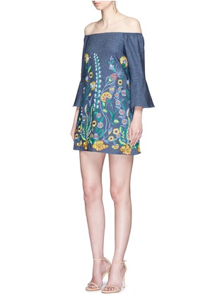 Figure View - Click To Enlarge - alice + olivia - 'Kyra' floral embroidered off-shoulder chambray dress