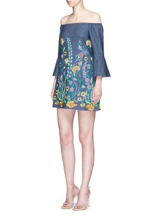 alice + olivia'Kyra' floral embroidered off-shoulder chambray dress
