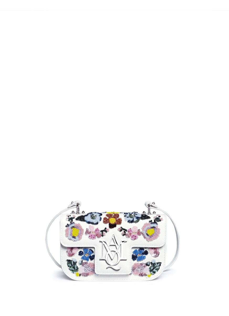 Insigna floral embellished leather satchel by Alexander McQueen
