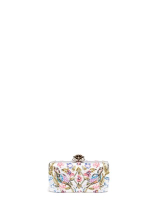 Detail View - Click To Enlarge - Alexander McQueen - Jewelled heart locket Caravan embellished satin box clutch
