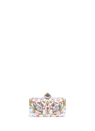 Main View - Click To Enlarge - Alexander McQueen - Jewelled heart locket Caravan embellished satin box clutch