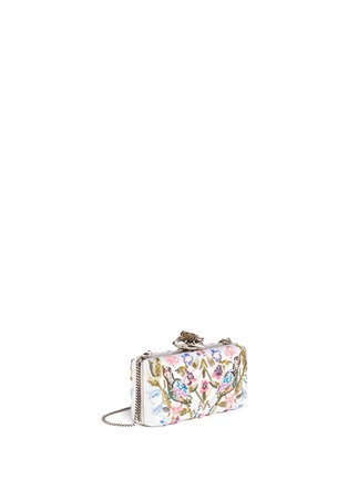 Figure View - Click To Enlarge - Alexander McQueen - Jewelled heart locket Caravan embellished satin box clutch