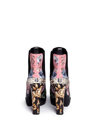 Back View - Click To Enlarge - Alexander McQueen - Embroidered floral print stud leather Chelsea boots