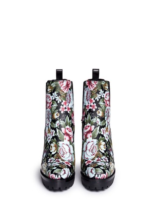 Front View - Click To Enlarge - Alexander McQueen - Embroidered floral print stud leather Chelsea boots