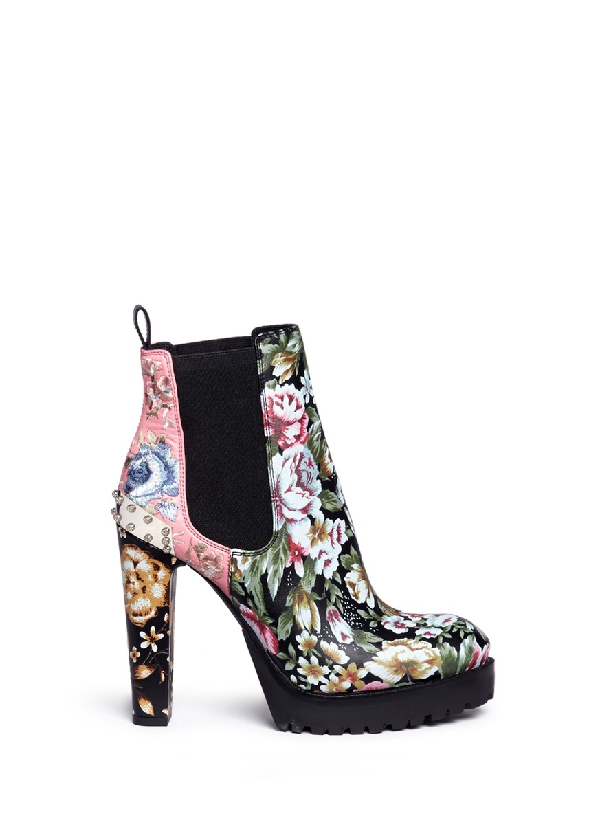 Embroidered floral print stud leather Chelsea boots by Alexander McQueen