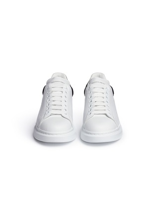 Front View - Click To Enlarge - Alexander McQueen - Chunky outsole suede collar leather sneakers
