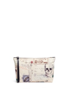 Alexander McQueen 'Letters from India' medium skull print pouch