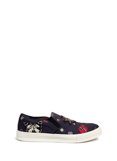 Alexander McQueenMixed appliqué canvas slip-on sneakers