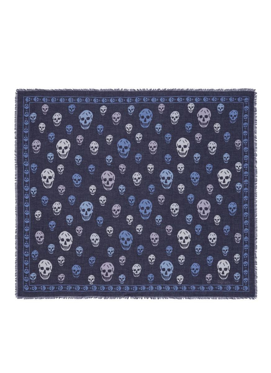 Bicolour skull silk-modal scarf by Alexander McQueen
