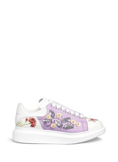 Alexander McQueen Floral sequin mesh embroidered leather sneakers
