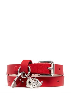 Alexander McQueen Skull charm double wrap leather bracelet