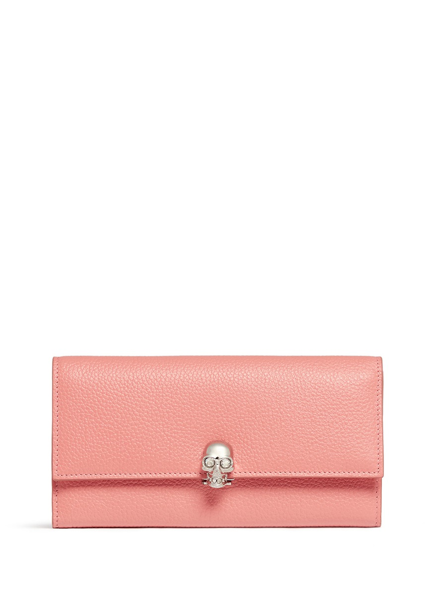 Skull clasp leather continental wallet by Alexander McQueen