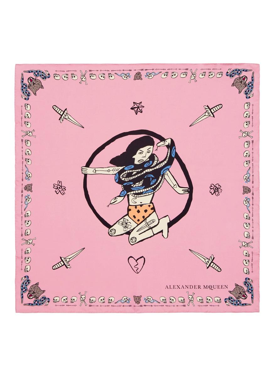 Circus Girls silk twill scarf by Alexander McQueen