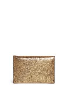 Alexander McQueenSkull metallic leather envelope card holder