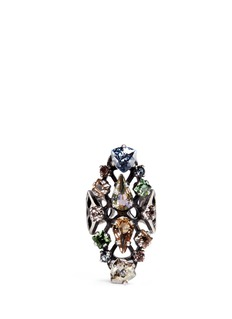Lanvin 'Ginger' glass crystal fretwork vertical ring