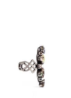 Lanvin'Ginger' glass crystal fretwork vertical ring