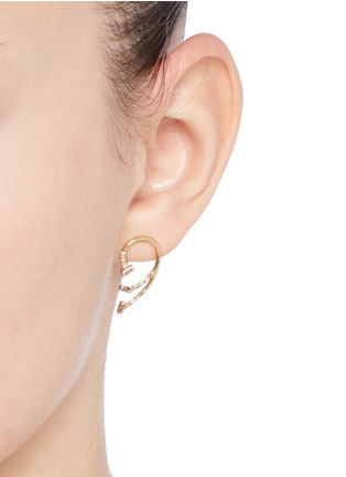 Figure View - Click To Enlarge - Xiao Wang - 'Gravity' diamond 14k yellow gold mismatched earrings
