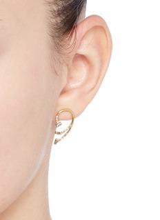 Xiao Wang'Gravity' diamond 14k yellow gold mismatched earrings