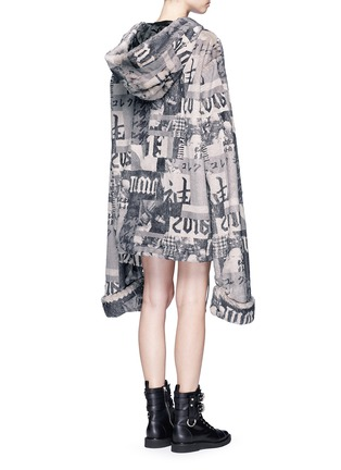 Back View - Click To Enlarge - FENTY PUMA by Rihanna - Oversized collage print faux fur hoodie