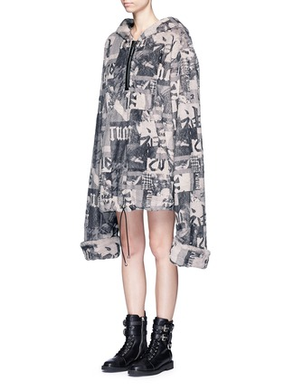 Front View - Click To Enlarge - FENTY PUMA by Rihanna - Oversized collage print faux fur hoodie
