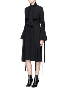 Ellery 'Inez' pussybow ruched crepe shirt dress
