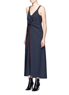 Ellery Binding Rouche' topstitched virgin wool blend dress